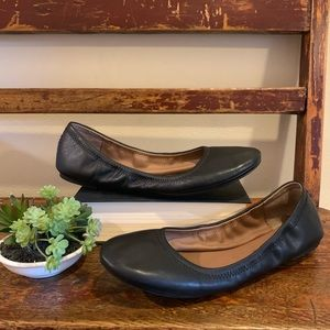 """Lucky Brand """"Emmie"""" black leather ballet flats"""